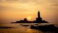 Sunrise above the sea Kanyakumari Comorin cape Royalty Free Stock Photo