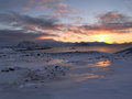 Sunrise in the arctic landscape Stock Image