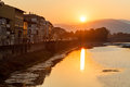 Sunrise at Arno River Embankment in Florence Stock Images