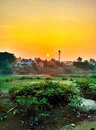 Sunrise awesome early morning shot in india chennai Royalty Free Stock Image