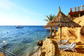 Sunrise and beach at the luxury hotel sharm el sheikh egypt Royalty Free Stock Image