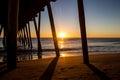 Sunrise beneath the pier virginia beach fishing Royalty Free Stock Photos