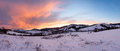 Sunrise Carpathian mountain winter panorama. Royalty Free Stock Photo