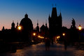 Sunrise on charles bridge in prague the czech republic Royalty Free Stock Photography