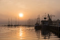 Sunrise in the city port of rostock germany Royalty Free Stock Photography