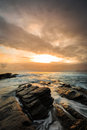 Sunrise in coast of Castro Urdiales, Cantabria Royalty Free Stock Photo