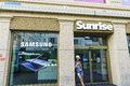 Sunrise communications retail store very high resolution megapixels in central geneva switzerland ag commonly known Royalty Free Stock Image