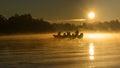 Sunrise on the danube cold november in delta Stock Photo