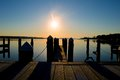 Sunrise at the dock on the river Royalty Free Stock Photo