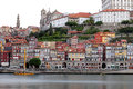 Sunrise on the douro river beautiful oporto ribeira quarter panorama long exposition historic centre of porto was declared a world Stock Image