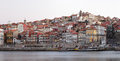 Sunrise on the douro river beautiful oporto ribeira quarter panorama long exposition historic centre of porto was declared a world Royalty Free Stock Image