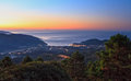 Sunrise in elba island overview of marciana marina at italy Stock Image