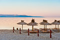 Sunrise on empty beach in Croatia Royalty Free Stock Image