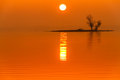 Sunrise fog on truman lake with an island the sun shining through the early morning in missouri the help slihouette the water Stock Image