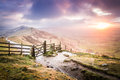 Sunrise on The Great Ridge in the Peak District, England Royalty Free Stock Photo