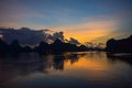 Sunrise on the ha long bay Stock Images