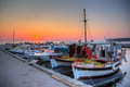 Sunrise harbor beautiful in the little of planos on the island of zakynthos greece Royalty Free Stock Photo
