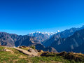 Sunrise in the himalayas first rays of sun view from auli india Royalty Free Stock Photos