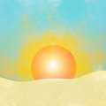 Sunrise illustration with in desert Royalty Free Stock Photo