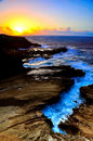 Sunrise lava cliff Royalty Free Stock Photo