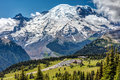 Sunrise lodge on Mount Rainier Royalty Free Stock Photo