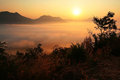 Sunrise and Mist scenics at Phu Tok Royalty Free Stock Photo