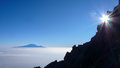 Sunrise on Mount Meru with a view of Kilimanjaro Royalty Free Stock Photo