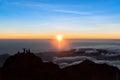 Sunrise at Mount Rinjani summit on morning. Lombok island, Indonesia Royalty Free Stock Photo