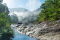 Sunrise in the mountains of Vietnam. Mountain river. Royalty Free Stock Photo