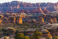 Sunrise in needles district view of the magnificent over taken from the pothole point Royalty Free Stock Images