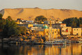 Sunrise on the nile beautiful in city of aswan in egypt Stock Images