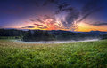 Sunrise in orlicke hory panorama czech republic Royalty Free Stock Photography