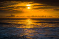 Sunrise over the atlantic ocean in folly beach south carolina Stock Image