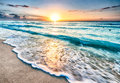 Sunrise over beach in Cancun Royalty Free Stock Photo