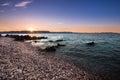 Sunrise over the beach in Istria, Croatia Royalty Free Stock Photo