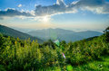 Sunrise over blue ridge mountains scenic overlook Royalty Free Stock Photography