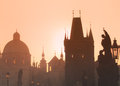 Sunrise over Charles Bridge and Old Town towers, Prague, Czech Republic Royalty Free Stock Photo