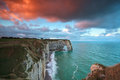 Sunrise over cliffs in alabaster coast etretat normandy france Stock Image