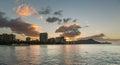 Sunrise over Diamond Head from Waikiki Hawaii Royalty Free Stock Photo