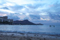 Sunrise over Diamond Head from Waikiki, Oahu,  Hawaii Royalty Free Stock Photo