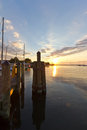 Sunrise over the dock Royalty Free Stock Photo