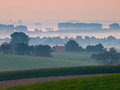 Sunrise over dutch hills Stock Photo