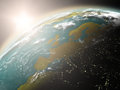 Sunrise over europe space view of the sun rising on planet earth elements of this image furnished by nasa Stock Photos