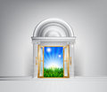 Sunrise over fields through grand entrance conceptual illustration of a a could be used in a self help or motivational concept or Stock Photos
