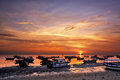 Sunrise over fishing boats on bali in tanjung benoa indonesia Stock Photography
