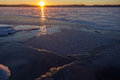 Sunrise over frozen and snowy lake in the winter in tampere finland Stock Photos