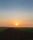 Sunrise over furrow and field sun rises a wheat as seen from a in the early morning Royalty Free Stock Photo