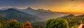 Sunrise over himalaya mountains near pokhara in nepal Stock Image