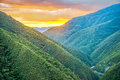 Sunrise over Jungle Covered Hills Royalty Free Stock Photo