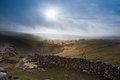 Sunrise over Malham Cove and Dale in Yorkshire Dales National Pa Royalty Free Stock Photo